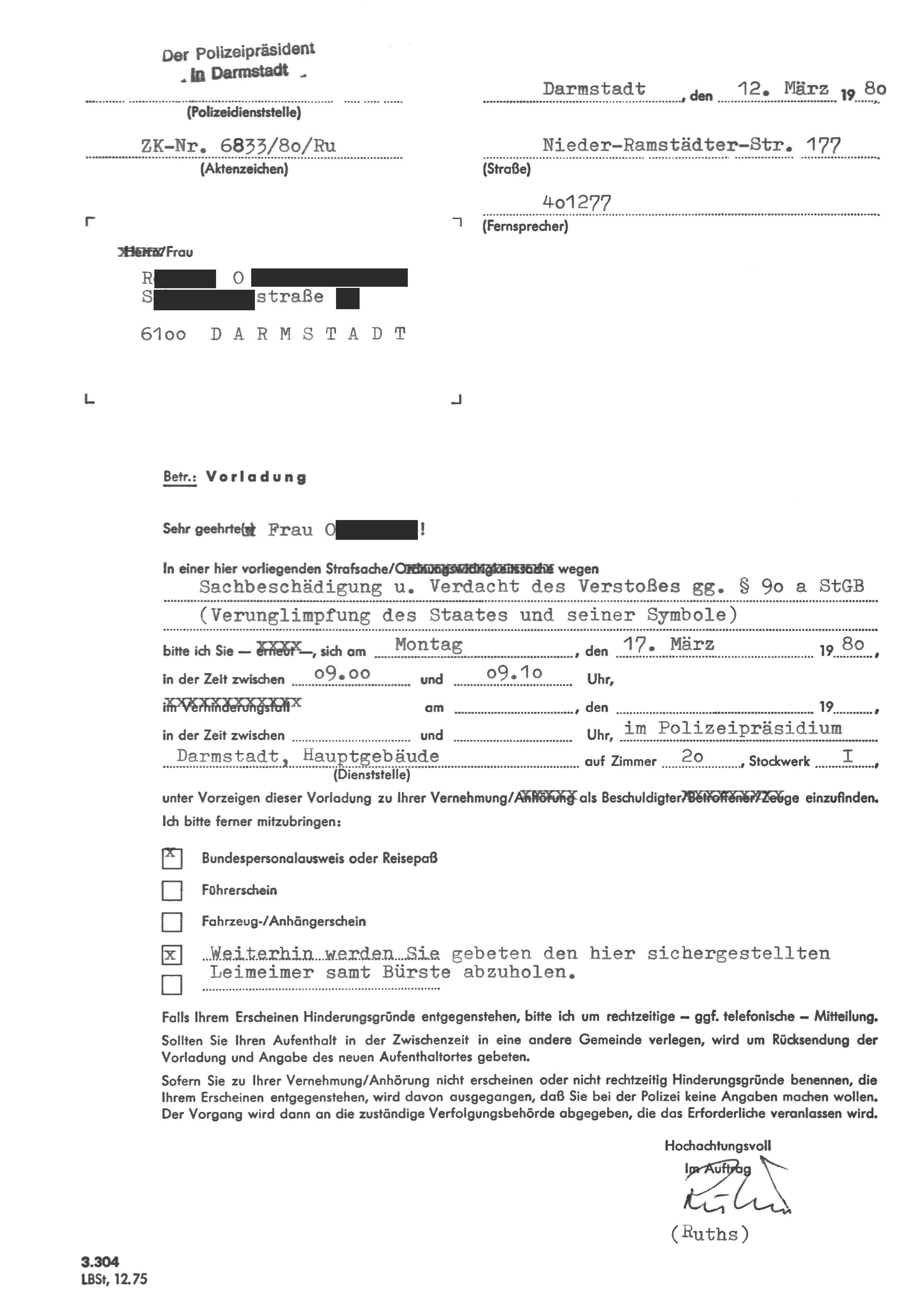 Ausgezeichnet Vorladung Antwortvorlage Zeitgenössisch - Beispiel ...